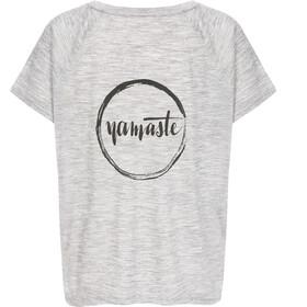 super.natural Jonser T-Shirt Women ash melange/jet black namaste print